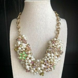 NEW Talbots Pearl Crystal Cluster Necklace